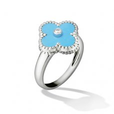 replica Van Cleef & Arpels Vintage Alhambra white gold diamond ring turquoise