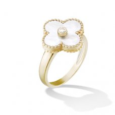 imitation Van Cleef & Arpels Alhambra yellow gold diamond ring white mother of pearl