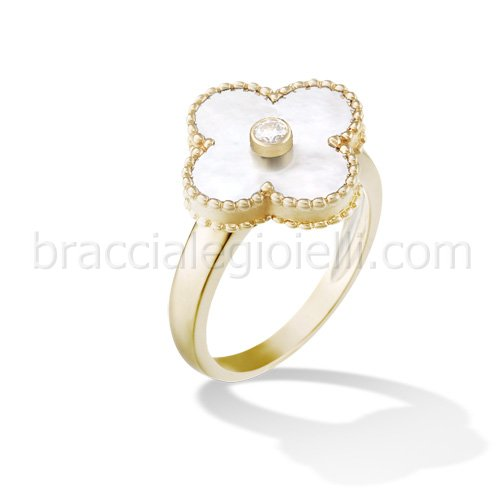 imitation Van Cleef & Arpels Alhambra yellow gold diamond ring white mother of pearl - Click Image to Close