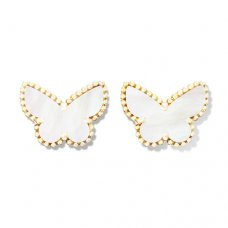 replica Van Cleef & Arpels Alhambra yellow gold butterfly earstuds white mother of pearl