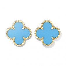replica Van Cleef & Arpels Alhambra yellow gold earclips turquoise