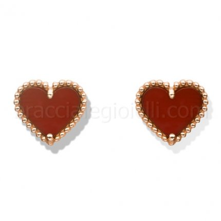 falso Van Cleef & Arpels dolce Alhambra rosa oro earstuds cuore corniola