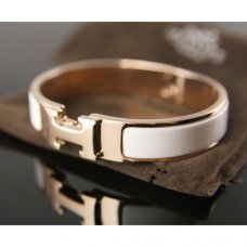 replica Hermes pink gold bracelet with white enamel