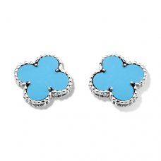 imitation Van Cleef & Arpels Vintage Alhambra white gold ear clips turquoise