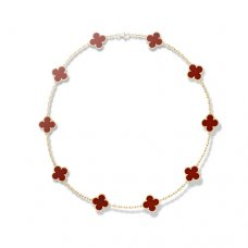 Van Cleef & Arpels Alhambra yellow gold carnelian 10 motifs replica necklace