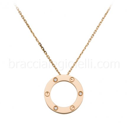 Cartier love collana replica in oro rosa con tre diamanti B7014700