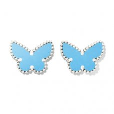 replica Van Cleef & Arpels Alhambra white gold butterfly earstuds turquoise