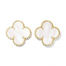 fake Van Cleef & Arpels Vintage Alhambra ear clips yellow gold white mother of pearl