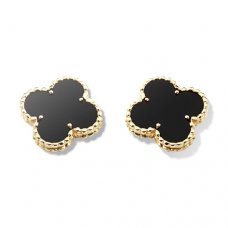 replica Van Cleef & Arpels Alhambra yellow gold earclips onyx