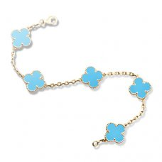 replica Van Cleef & Arpels Vintage Alhambra turquoise 5 motifs yellow gold bracelet