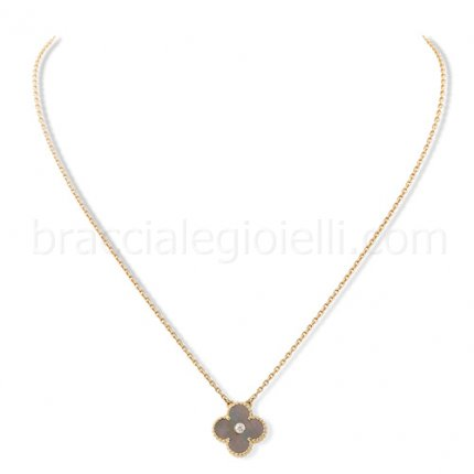 fake Van Cleef & Arpels Alhambra grey mother of pearl pendant