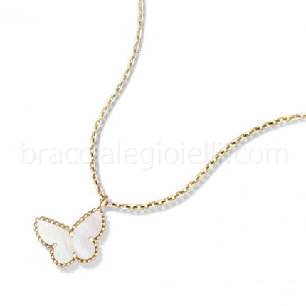 replica Van Cleef & Arpels Alhambra yellow gold butterfly pendant white mother of pearl