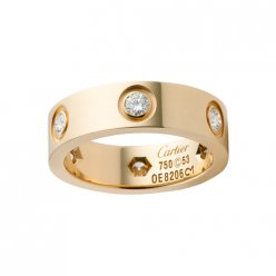 Replica cartier Love ring yellow gold with six diamonds B4025900