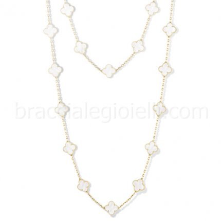 Van Cleef & Arpels Vintage Alhambra yellow gold replica long necklace white mother of pearl