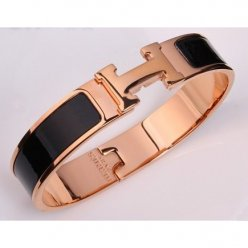 imitation Hermes narrow clic H pink gold bracelet with black enamel