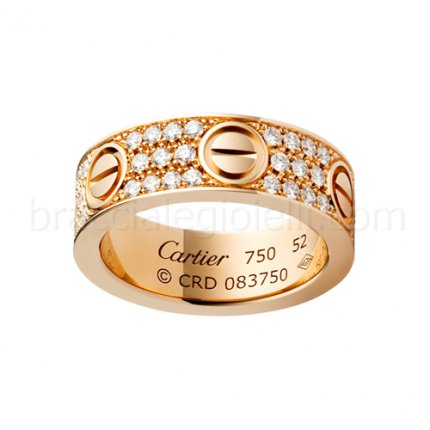 Replica cartier Love ring pink gold with paved diamonds B4087600