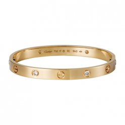 Classic replica cartier love bracelet pink gold with four diamonds B6036016
