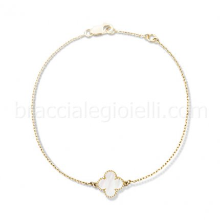 replica Van Cleef & Arpels Alhambra yellow gold clover bracelet white mother of pearl