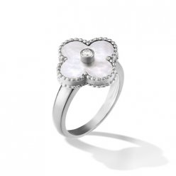 fake Van Cleef & Arpels Vintage Alhambra white gold diamond ring white mother of pearl