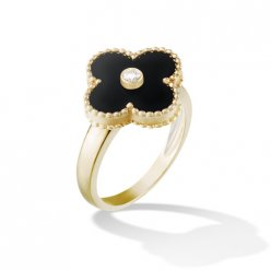 replica Van Cleef & Arpels Vintage Alhambra yellow gold diamond ring onyx