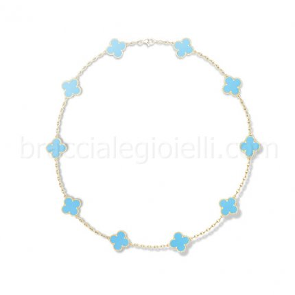 Van Cleef & Arpels Vintage Alhambra yellow gold turquoise 10 motifs replica necklace