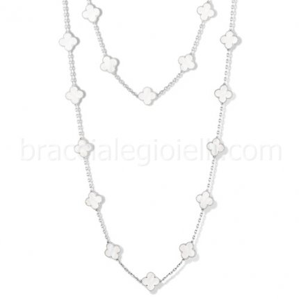Van Cleef & Arpels Alhambra replica white gold long necklace white mother of pearl