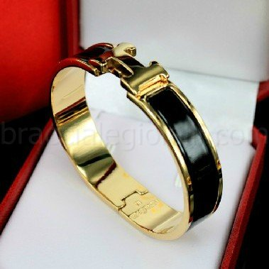 replica Hermes clic H yellow gold bracelet with black enamel