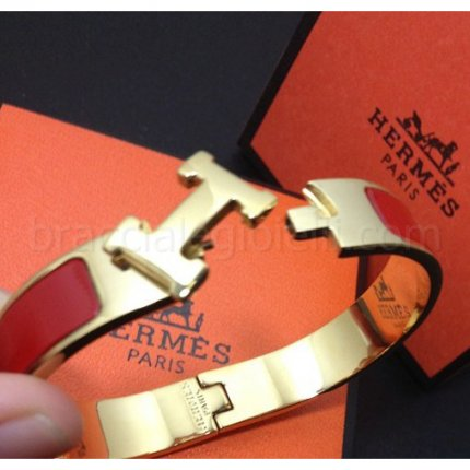 fake Hermes narrow clic H pink gold bracelet with red enamel