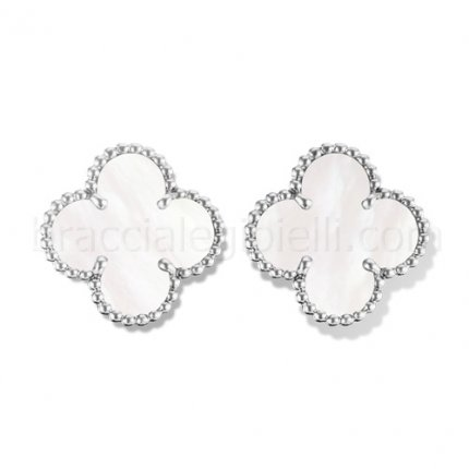 fake Van Cleef & Arpels Vintage Alhambra white gold earclips white mother of pearl