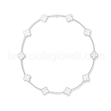 Van Cleef & Arpels Alhambra white gold white mother of pearl 10 motifs fake necklace