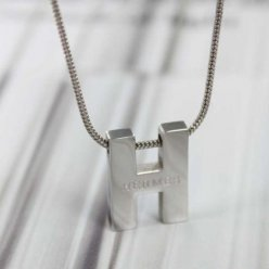 replica Hermes white gold necklace chain H pendant