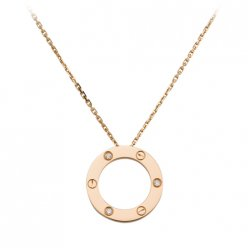 Cartier Love necklace replica pink gold with three diamonds B7014700