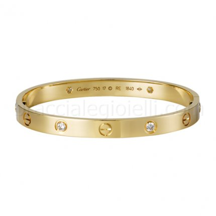 Classic replica cartier love bracelet yellow gold with four diamonds B6035916