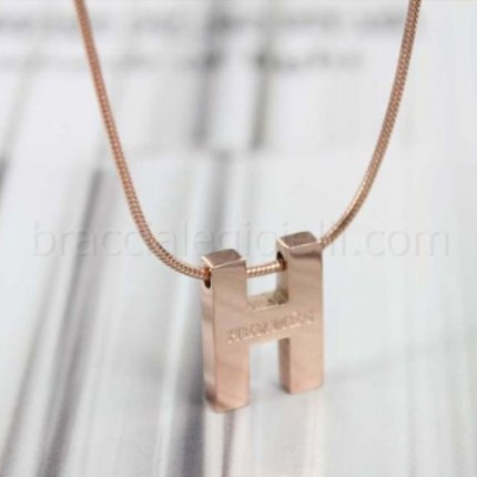 replicaHermes pink gold necklace chain H pendant