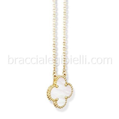 imitation Van Cleef & Arpels Alhambra yellow gold pendant white mother of pearl - Click Image to Close