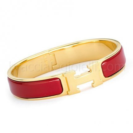 replica Hermes clic H yellow gold bracelet with red enamel