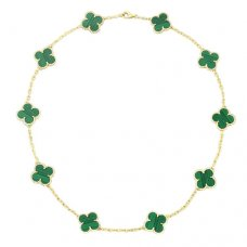 Van Cleef & Arpels Vintage Alhambra replica yellow gold malachite 10 motifs necklace