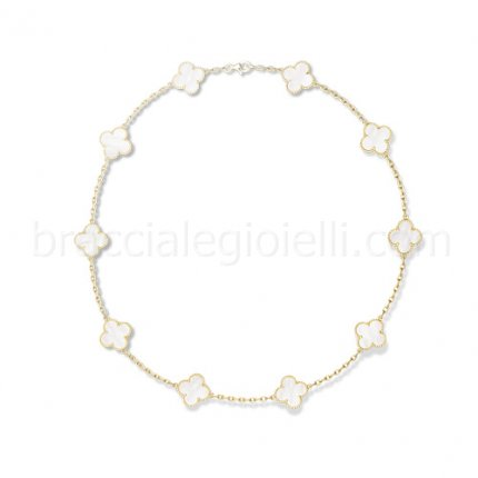 Van Cleef & Arpels Vintage Alhambra 10 motifs replica yellow gold necklace white mother of pearl