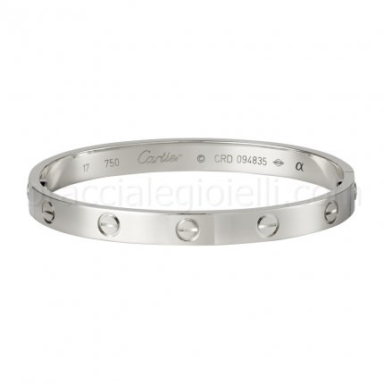 Classic cartier love bracelet imitation in white gold B6035416