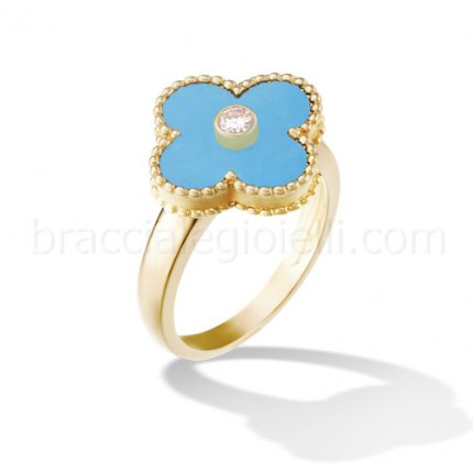 replica Van Cleef & Arpels Vintage Alhambra yellow gold diamond ring turquoise