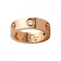 Replica cartier Love ring pink gold with three diamonds B4087500