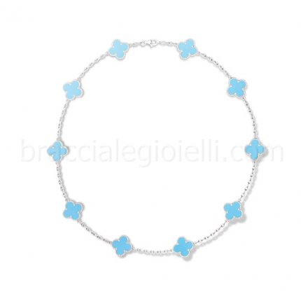 imitation Van Cleef & Arpels Alhambra white gold turquoise 10 motifs necklace