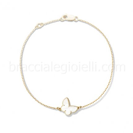 imitation Van Cleef & Arpels Sweet Alhambra yellow gold butterfly bracelet white mother of pearl