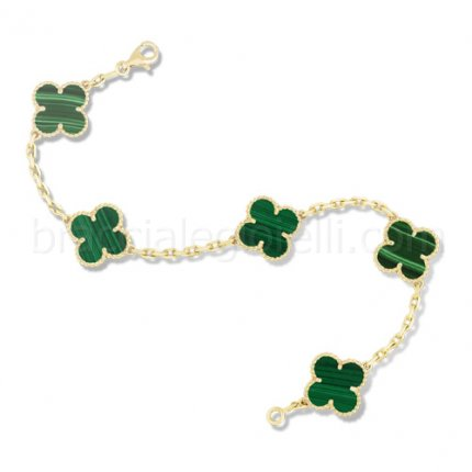 replica Van Cleef and Arpels Alhambra malachite 5 motifs yellow gold bracelet