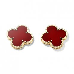 replica Van Cleef & Arpels Alhambra yellow gold ear clips carnelian