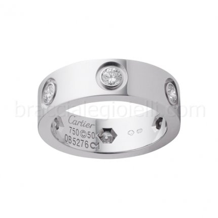 Bague amour Cartier Replique or blanc avec six diamants B4026000