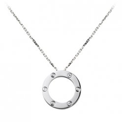 Réplique Collier Love Cartier or blanc avec trois diamants B7014600