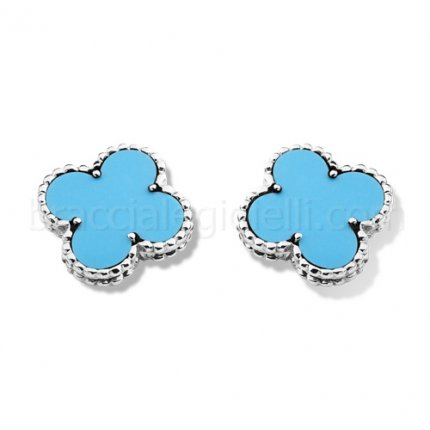 imitation Van Cleef & Arpels Vintage Alhambra or blanc clips oreille turquoise