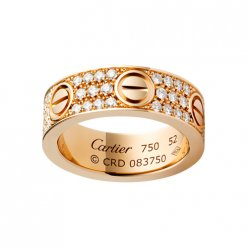 Replique Bague love Cartier en or rose pavé de diamants B4087600
