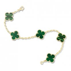 réplique Van Cleef and Arpels Alhambra malachite 5 motifs bracelet or jaune